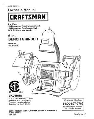 Craftsman 152 211240 Bench Grinder Owners Instruction