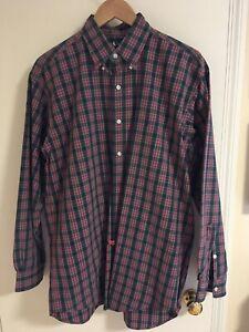 Ralph-Lauren-Blake-Shirt-Mens-Size-M-Red-Black-Plaid-Long-Sleeve-Button-Front