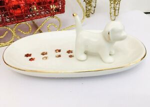 New Ivory Gold Puppy Dog Figure Paw Prints Trinket Dish Tray Ring Plate