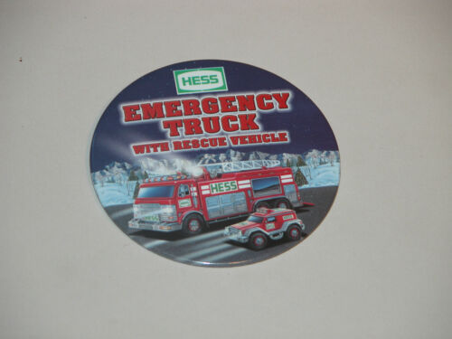 HESS 2005 EMERGENCY TRUCK /& RESCUE VEHICLE CASHIER BUTTON MINT /& REGULAR BAG CHO
