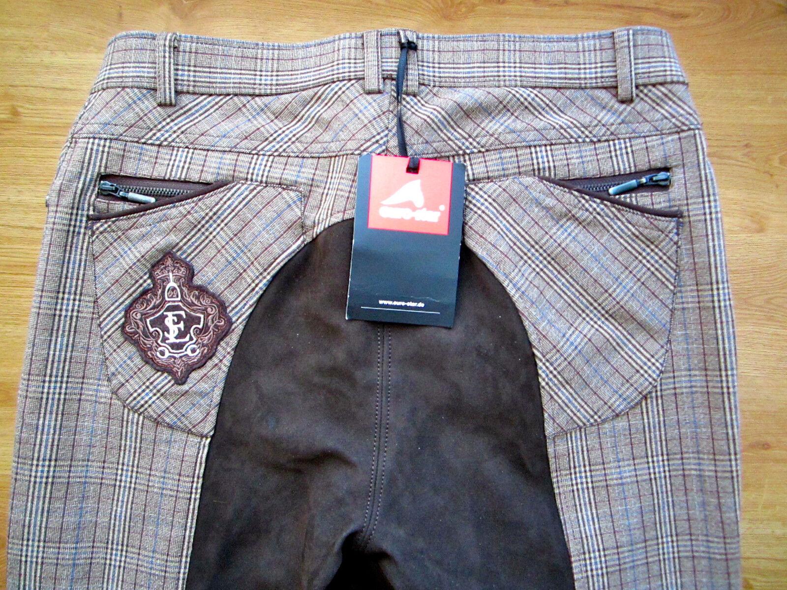 Euro-Estrella pantalones de montar de asiento completo Laura ocre  oscuro cuadros en marrón Talla EU4012-14 -  nuevo   punto de venta