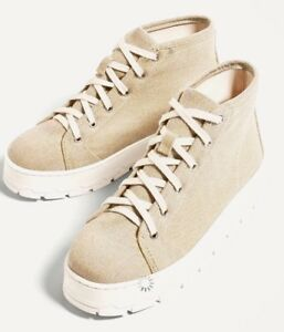 New Zara TRF Women Canvass Fabric Sneakers Beige Platform Ankle ... a63c0a3f82a