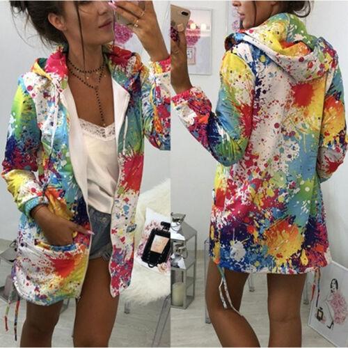 Painted Graffiti Women Sweatshirt Long Sleeve Hooded Cardigan Zip Up Jacket Coat