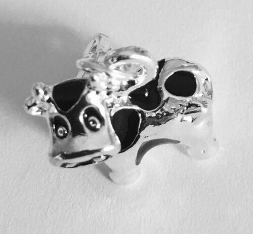 Hermoso 3D Negro y Plateado Vaca Clip en Aleación De Plata Del Encanto Para Pulseras