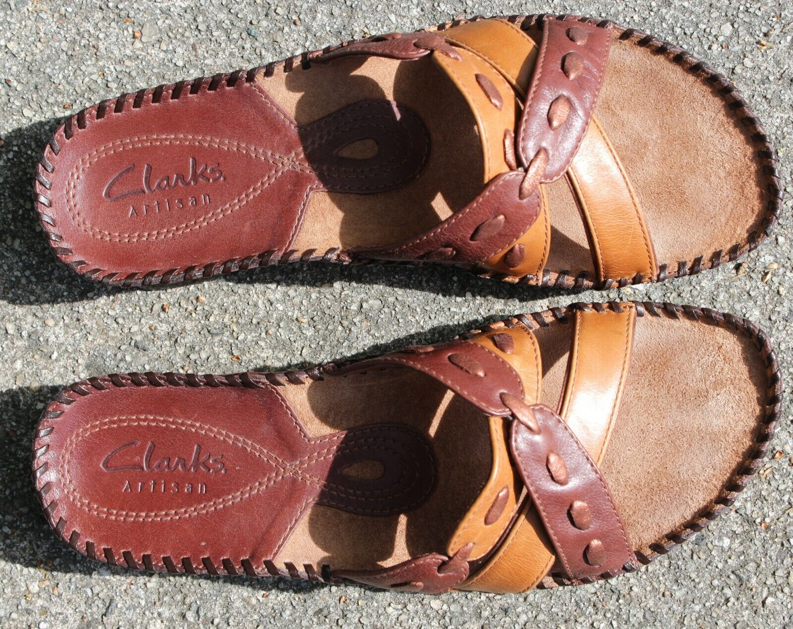 Clarks LEISA BROACH Womens White Leather 18222 3-Adjustable Straps Slide Sandals