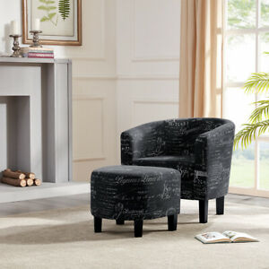 Tremendous Details About Accent Chair W Ottoman Round Arms Curved Back French Print Script Black Ibusinesslaw Wood Chair Design Ideas Ibusinesslaworg