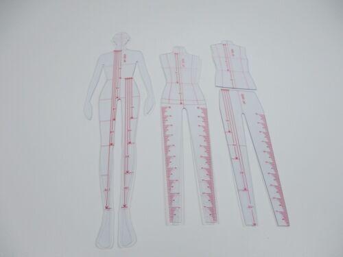 1PC Female Human Body Ruler Garment Design Sketch Draw tool Curve Template 23CM