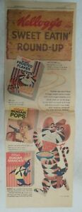 Kellogg's Frosted Flakes Cereal Ad: Tony The Tiger ! 1959 Size: 7.5  x 22 inches