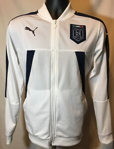 8125ce97ee61 Mens White Athletic Puma FIGC Italia Stadium Track Jacket 75075002 ...