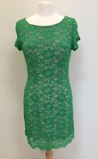 bebe Green Sheer Nude Lining Peeping Hem Women's Dress Size M