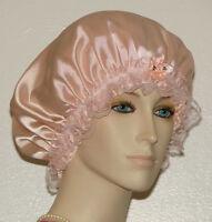 Hair Bonnet Light Peach Satin W/ Peach Lace Or Night Sleep Cap - Adult Size