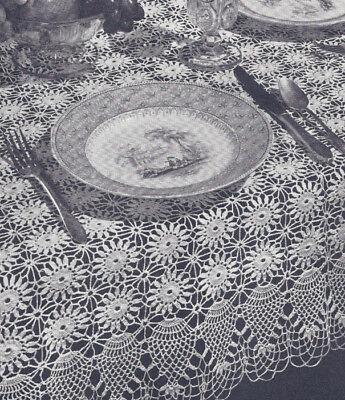 Vintage Crochet PATTERN to make Large Doily Tablecloth Centerpiece TeaTableCente