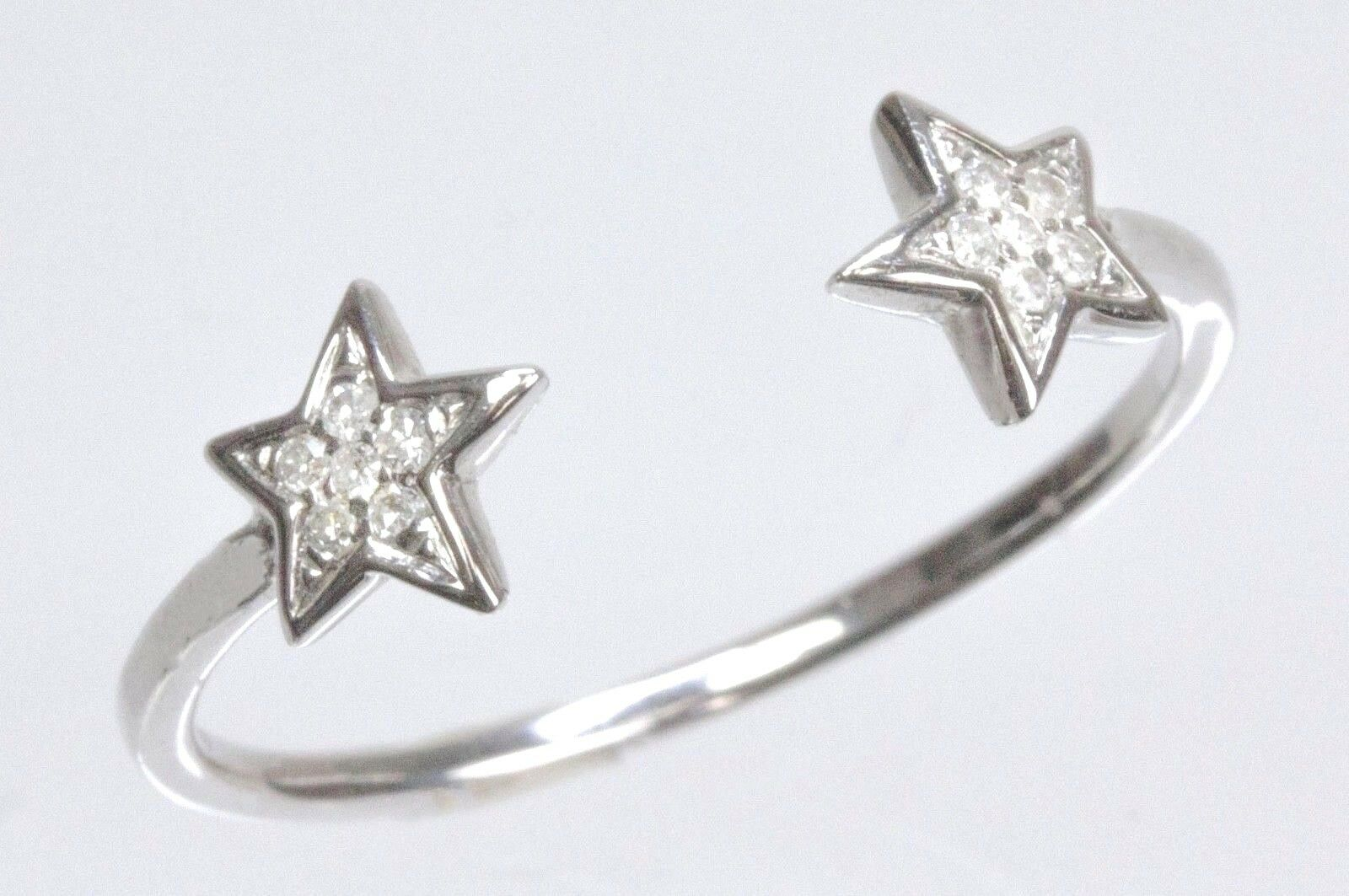 Double Star Split Ring with Diamond in 14k White, Yellow or pink gold ( D 0.05)