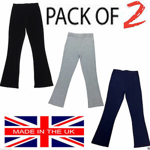 PACK-OF-2-LADIES-WOMENS-STRAIGHT-LEG-RIBBED-TROUSERS-STRETCH-PULL-ON-PANTS-8-26