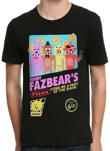 Five-Nights-At-Freddy-039-s-Retro-Game-Cover-Black-Men-039-s-Graphic-T-Shirt-New
