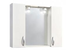 Specchio specchiera da bagno arredo 2 ante 2 luci in legno laccato bianco 30870