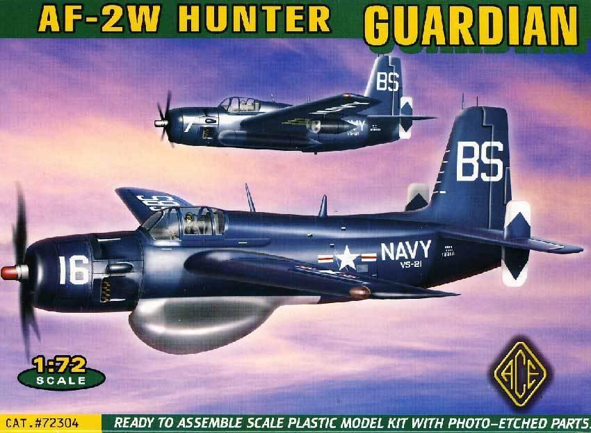 Ace Grumman AF-2W Hunter Guardian Us Navy VS-21 VS-25 - 1 72 Model Kit Set