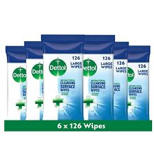 6 x Dettol Antibacterial Large Surface Cleansing 126 Wipes - Total 756 Wipes