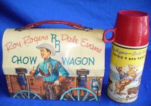 VINTAGE ROY ROGERS CHOW WAGON METAL LUNCH BOX W/THERMOS COWBOY WESTERN CHUCK OLD