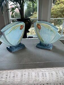Roseville-Windcraft-Pinecone-Vase-272-6-Blue-Excellent-Condition