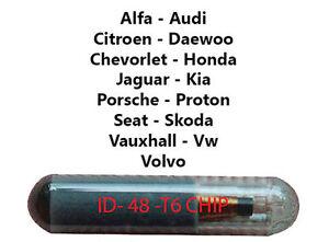 4x Transponder ID48 Chip Fernbedienung Kompatibel mit Fiat Seat Kia Key Fob T6