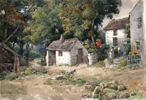 JOSEPH-TWIGG-1844-1914-Watercolour-Painting-IVY-COTTAGE-PENMAEN-WALES-c1910
