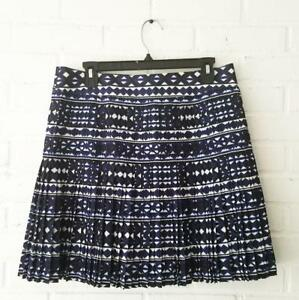 49df6772e J CREW* Blue White Accordion Pleated Skirt Tribal Geometric Print ...