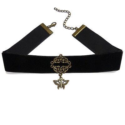 Collier Ras De Cou gothique cosplay noir Velours décor bronze doré papillon