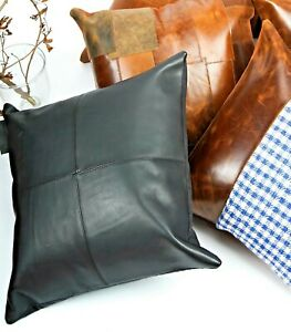 Genuine Cowhide Leather Cushion Cover Pillow Case Home Decor Throw 45*45cm