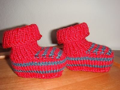Babyschuhe Babysöckchen gestrickt Handmade rot/blau