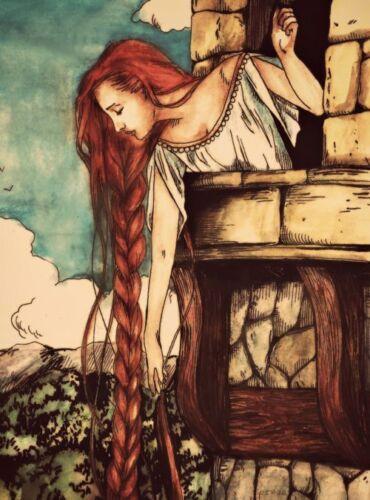 Buy 2 Get 1 FREE! Vintage Red Head Rapunzel in Castle 8x10 Fabric Block