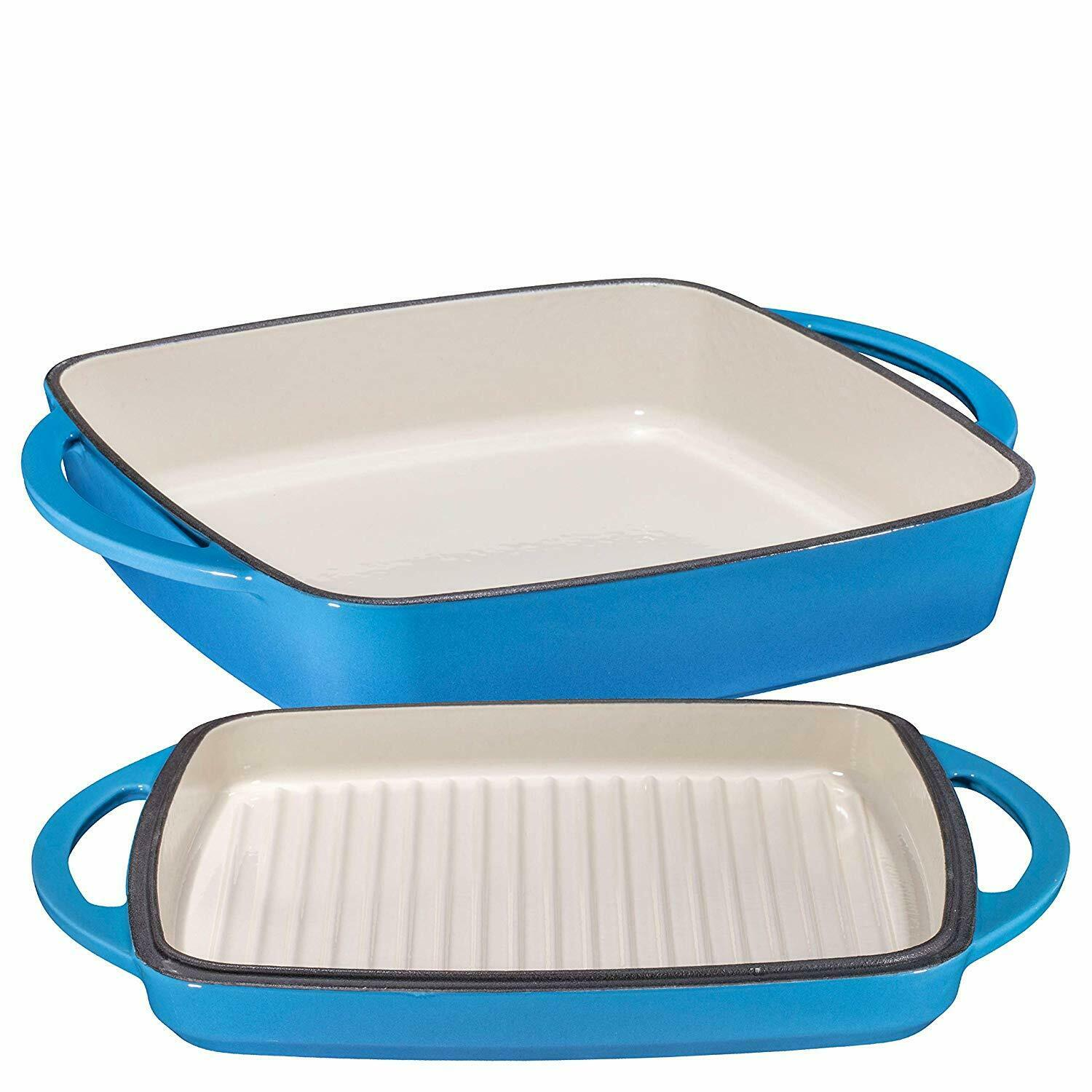 bluee Enameled Cast Iron Square Casserole Baker With Griddle Lid