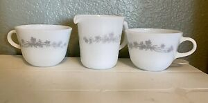 Vintage Corning  Ribbon Bouquet Gray/White Milk Glass Cups (2) And Creamer.
