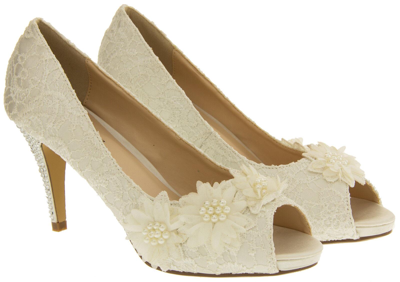 Ladies Ivory Bridal Heels Lace Satin Wedding Shoes Brides Diamante Court Size 3