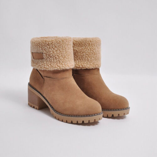 Women/'s Winter Middle Block Heel Snow Boots Warm Fleece Lined Stretch Flat Shoes