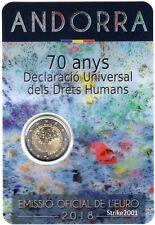 NEW !!! Coin Card 2 EURO COMM ANDORRA 2018 Fdc 70° Dichiarazione Diritti Umani