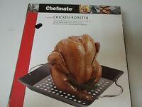 Chefmate 2 Piece Chicken Roaster In Box Non Stick Black Oven Safe Steel