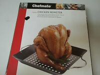 Chefmate 2 Piece Chicken Roaster In Box Non Stick Black Oven Safe Steel