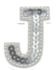 letter appliques iron on letters silver sequin 2 quot letter quot j quot iron on embroidered 8205