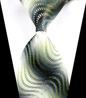 New Classic Green&Gray Striped WOVEN JACQUARD Silk Men's Suits Tie Necktie