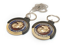 "USMC MILITARY CHALLENGE COIN HOLDER KEY RING NECKLACE  Fits for 1.45"" to1.85"""