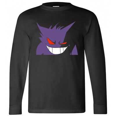 POKEMON GENGAR Face Anime Cartoon Nightmare Long Sleeve Black T-Shirt Size S-3XL