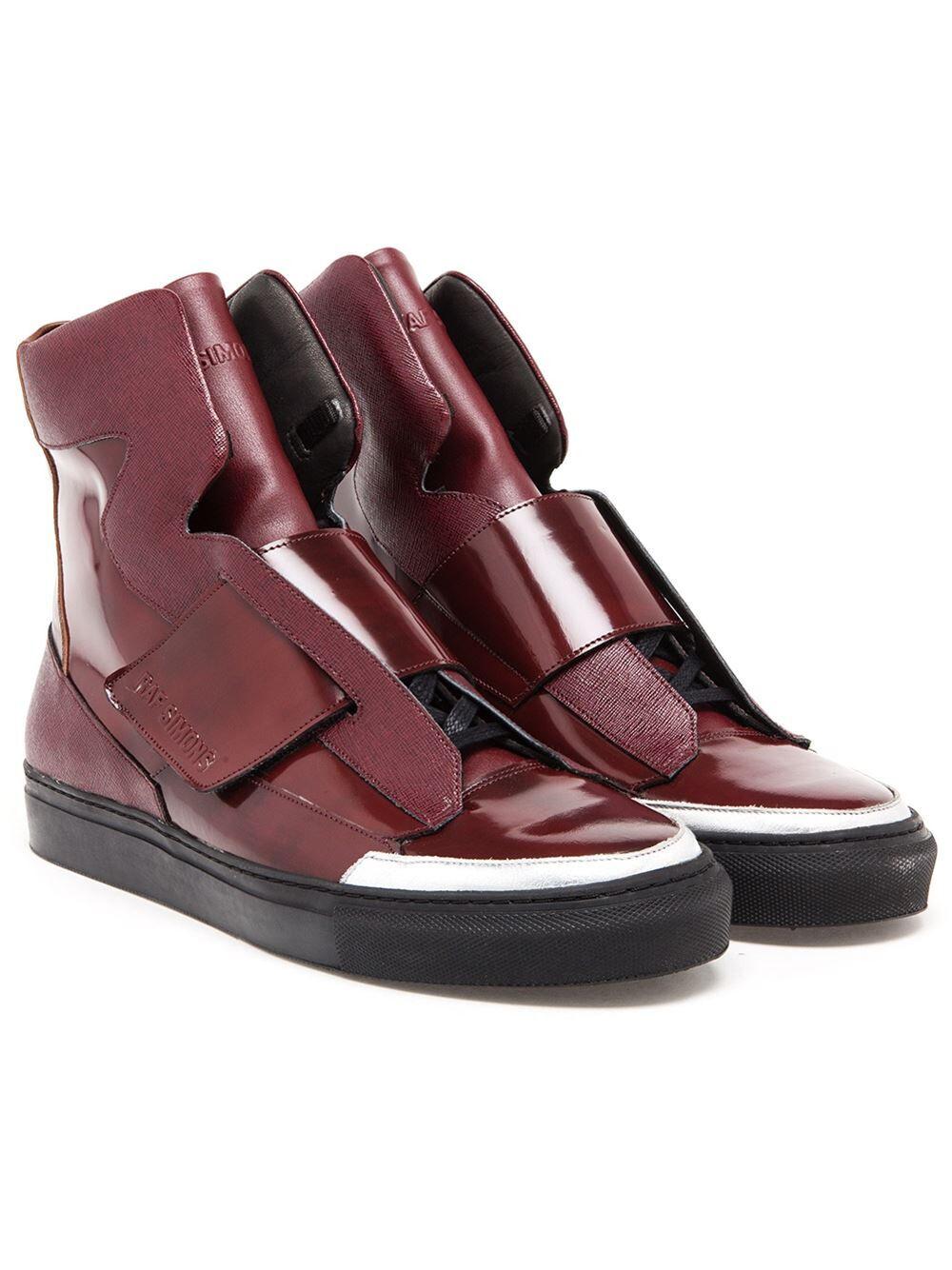 Raf Simons - Burgundy Leather High Top Trainers - Brand New