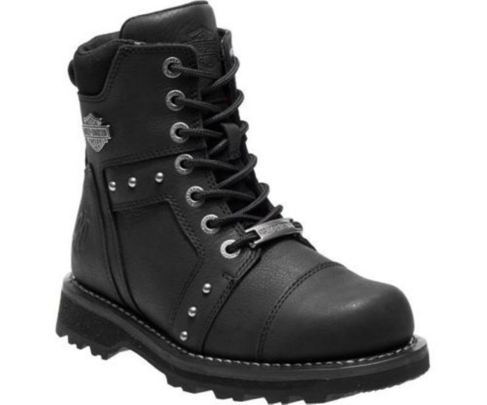 Grandes zapatos con descuento Harley Davidson Oakleigh Ladies Black Leather Biker Boots Studded Lightweight