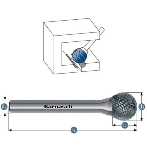 Frässtift Kugel Fräser Kugelform HM für Edelstahl Kupfer Ø=2-25mm HP1-7 Karnasch