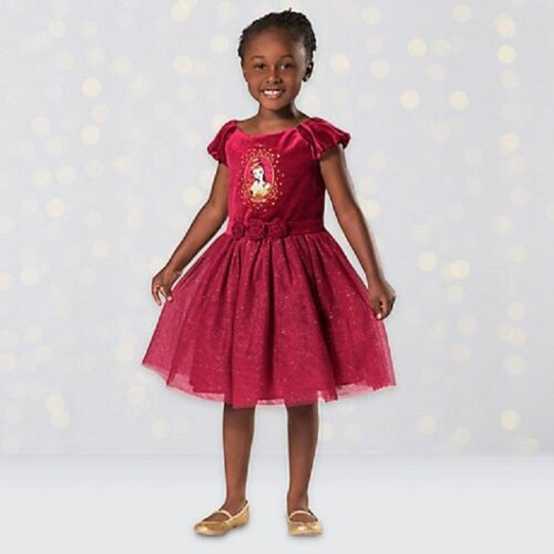 NEW Disney Store Beauty /& the Beast Belle Red Party Dress Sz 4T 5//6