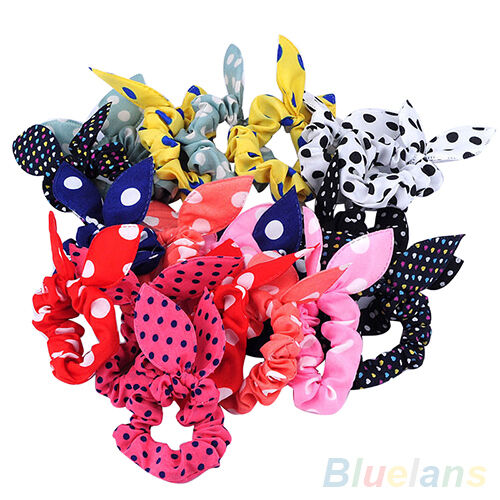 10x Japan Korean Womens Rabbit Ear Hair Tie Bands Accessories Ponytail Holder F