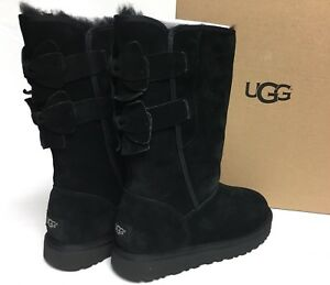 6fe242b16a7 Details about Ugg Australia Allegra Bow Black Boots 1092969 Women's Suede  Sheepskin Shearling