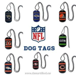 NFL-Football-Dog-Tag-Necktag-Halskette-Fanartikel-Seahawks-Bears-49ers