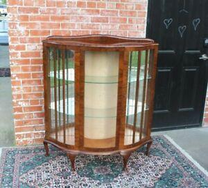 English-Antique-Queen-Anne-Burled-Walnut-Display-Cabinet